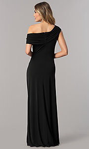 Image of long asymmetrical-neck mother-of-the-bride dress. Style: ET-ESJMJ826 Back Image