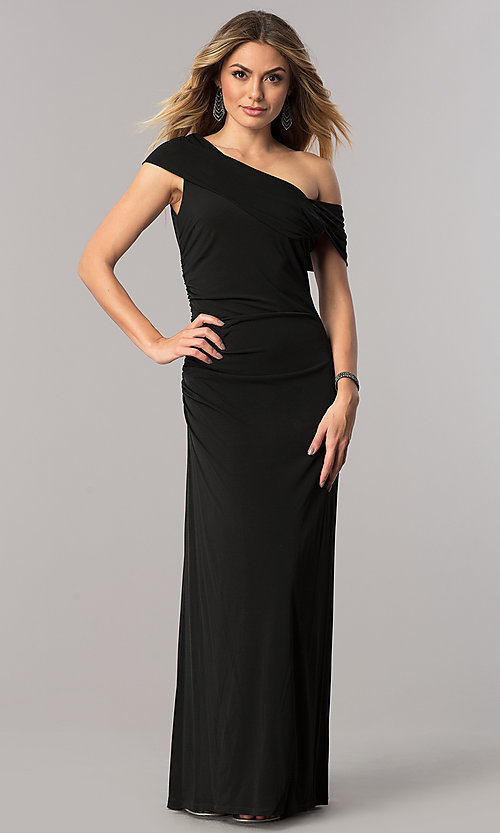 Image of long asymmetrical-neck mother-of-the-bride dress. Style: ET-ESJMJ826 Front Image
