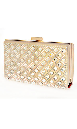 Beaded Nude Metallic Clutch with Chain Strap