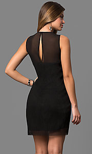 Image of short black cocktail party dress with sheer overlay. Style: BC-SVM62J55 Back Image