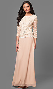 Image of lace-bodice mother-of-the-bride long formal dress.  Style: SF-8837 Detail Image 2