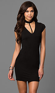 Image of cap-sleeve short black party dress with choker.  Style: EM-FEZ-1606-001 Front Image
