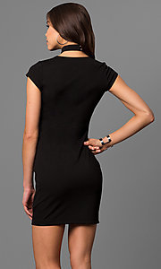 Image of cap-sleeve short black party dress with choker.  Style: EM-FEZ-1606-001 Back Image