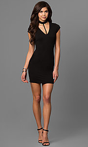 Image of cap-sleeve short black party dress with choker.  Style: EM-FEZ-1606-001 Detail Image 1