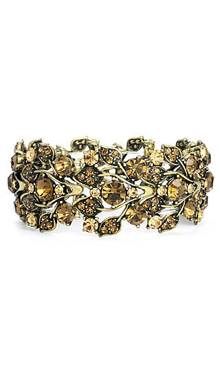 Stretch Bracelet with Brown Austrian Crystals