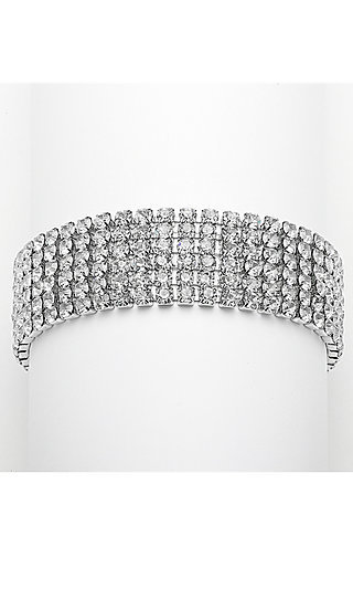 Silver Bracelet with Six Rows of Crystal