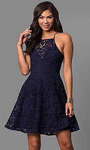 Image of short lace a-line semi-formal party dress.  Style: LP-27005 Front Image