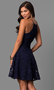 Image of short lace a-line semi-formal party dress.  Style: LP-27005 Back Image