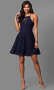 Image of short lace a-line semi-formal party dress.  Style: LP-27005 Detail Image 1