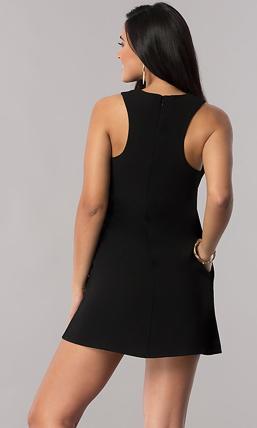 Image of short casual shift party dress with pockets. Style: SS-JA92461GKW Back Image