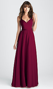 Image of classic burgundy red long deep-v-neck formal dress. Style: NM-BM-A1503 Front Image