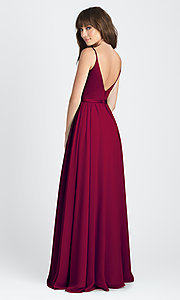 Image of classic burgundy red long deep-v-neck formal dress. Style: NM-BM-A1503 Back Image