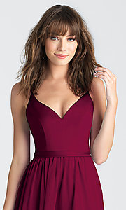 Image of classic burgundy red long deep-v-neck formal dress. Style: NM-BM-A1503 Detail Image 1