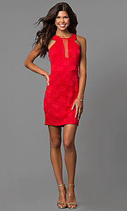 Image of short red lace wedding-guest party dress.  Style: CT-3372XA3B Detail Image 1