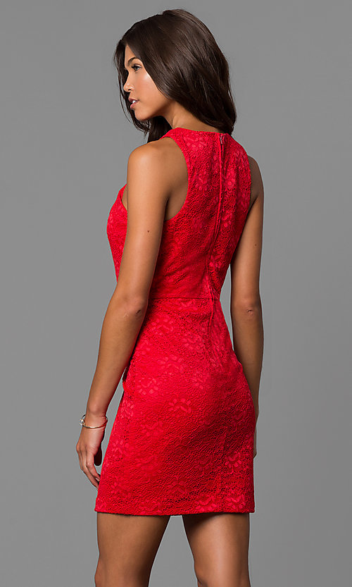 Image of short red lace wedding-guest party dress.  Style: CT-3372XA3B Back Image