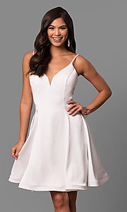 Image of short v-neck a-line party dress by Dave and Johnny Style: DJ-5404 Front Image