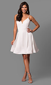 Image of short v-neck a-line party dress by Dave and Johnny Style: DJ-5404 Detail Image 1