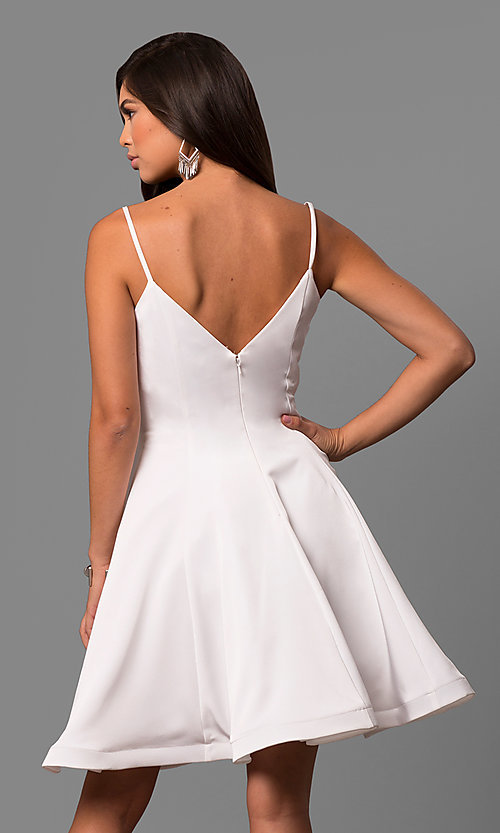Image of short v-neck a-line party dress by Dave and Johnny Style: DJ-5404 Back Image
