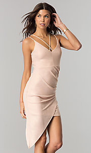 Image of short cocktail party dress with asymmetrical hem. Style: EM-FHW-3189-848 Front Image