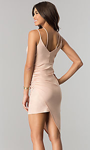 Image of short cocktail party dress with asymmetrical hem. Style: EM-FHW-3189-848 Back Image