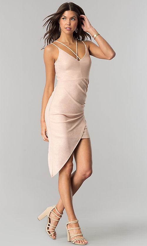 Image of short cocktail party dress with asymmetrical hem. Style: EM-FHW-3189-848 Detail Image 1