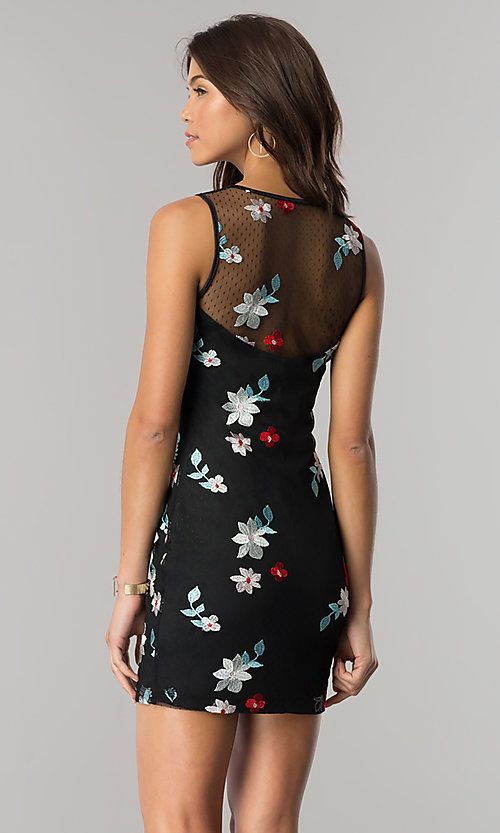 Image of short black party dress with floral embroidery. Style: EM-FiD-3203-034 Back Image