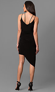 Image of short black party dress with asymmetrical hem. Style: MD-D15437AB Back Image