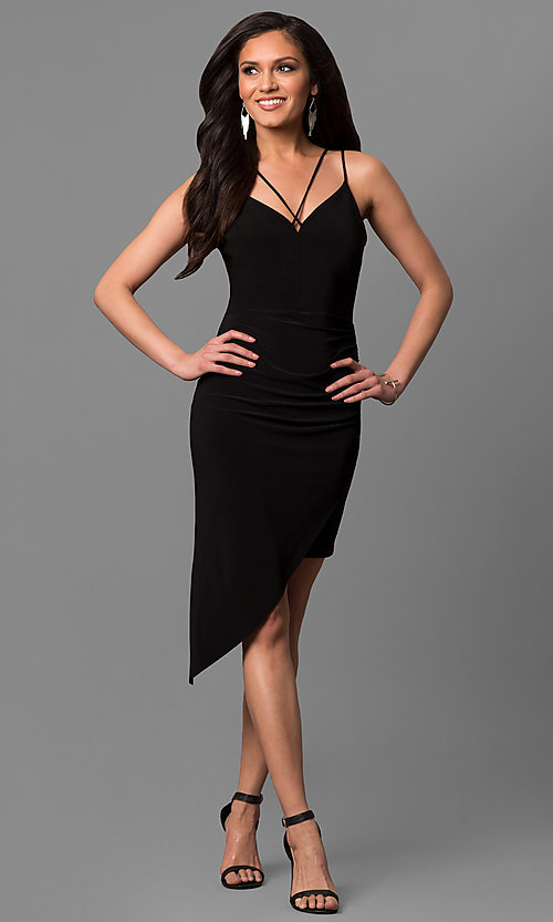 Image of short black party dress with asymmetrical hem. Style: MD-D15437AB Front Image