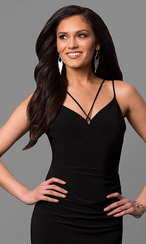 Image of short black party dress with asymmetrical hem. Style: MD-D15437AB Detail Image 1