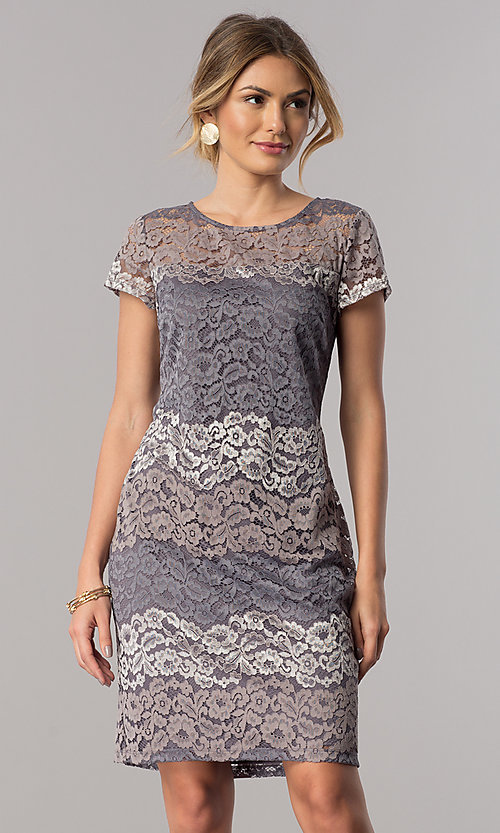 Silver Striped Lace Short Wedding-Guest Party Dress
