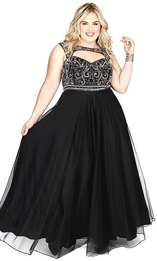 Long Sleeveless Empire-Waist Plus-Size Prom Dress