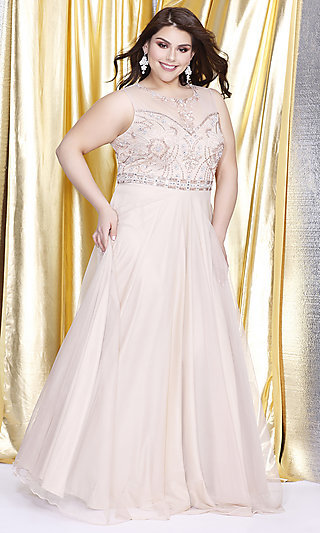 Plus Kurves by Kimi Illusion Sweetheart Prom Dress