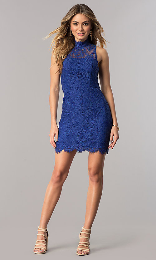 Image Of Royal Blue Short Lace Wedding Guest Party Dress Style Dmo