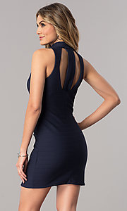 Image of ribbed navy blue short wedding-guest party dress. Style: DMO-J317487 Back Image