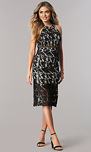 Image of knee-length black lace wedding-guest party dress. Style: DMO-J316087 Detail Image 1
