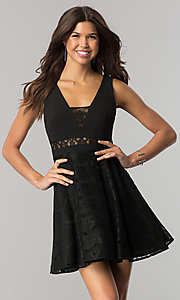 Image of black short lace-embellished wedding-guest dress.  Style: DMO-J317817 Front Image