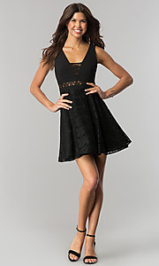 Image of black short lace-embellished wedding-guest dress.  Style: DMO-J317817 Detail Image 1