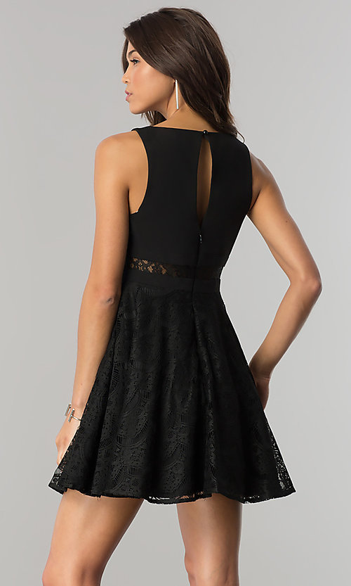 Image of black short lace-embellished wedding-guest dress.  Style: DMO-J317817 Back Image