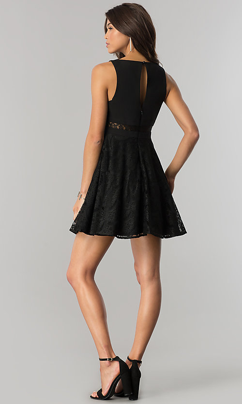 Image of black short lace-embellished wedding-guest dress.  Style: DMO-J317817 Detail Image 2
