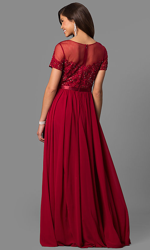 Image of lace-bodice long prom dress with short sleeves. Style: DQ-9710 Back Image