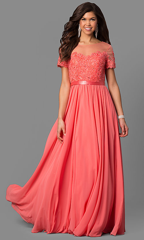 Image of lace-bodice long prom dress with short sleeves. Style: DQ-9710 Detail Image 3