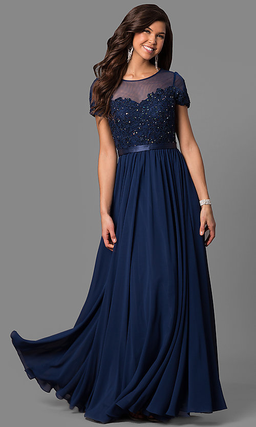 Short Sleeve Long Prom Dress With Sequined Lace