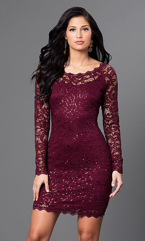 77be5736e3 Image of sequined-lace short party dress with long sleeves. Style  MY-