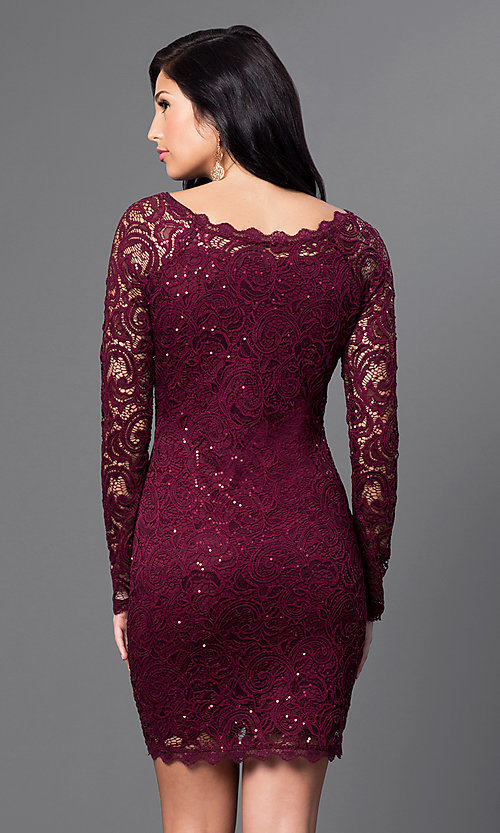 Image of sequined-lace short party dress with long sleeves.  Style: MY-2387xz1c Back Image