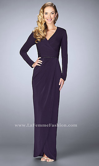 Long Prom Dress with V-Neck and Sleeves by La Femme