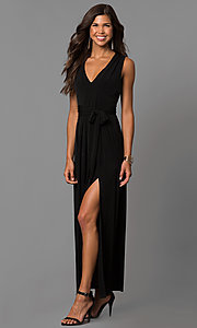 Image of long wedding-guest maxi dress with cut out and slit. Style: BC-YDM60M00 Detail Image 2