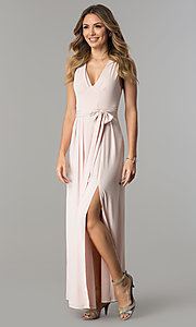 Image of long wedding-guest maxi dress with cut out and slit. Style: BC-YDM60M00 Front Image