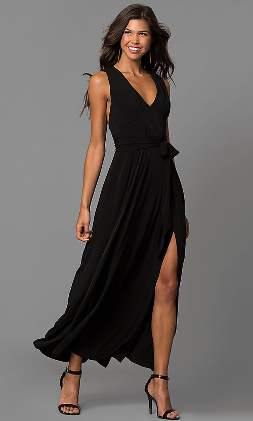 Image of long wedding-guest maxi dress with cut out and slit. Style: BC-YDM60M00 Detail Image 1