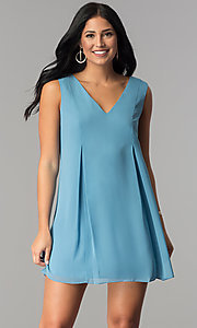 Image of Parisian blue v-neck short chiffon party dress.  Style: BC-VDW64M34 Front Image
