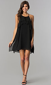 Image of short chiffon wedding-guest party dress with ruffle. Style: BC-VDW61M04 Detail Image 3